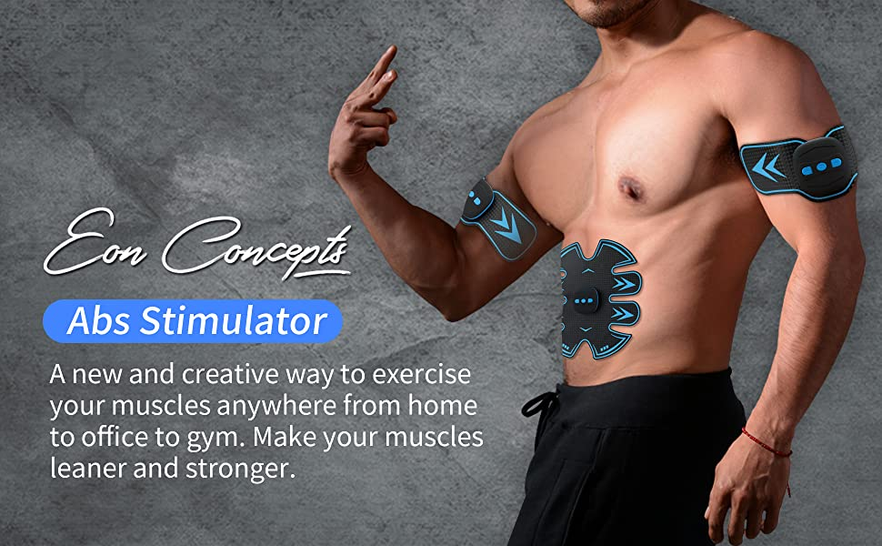 Abs Stimulator Muscle Toner Trainer for Men and Women Gym Home Six Pack EMS Gel Pads Best workout