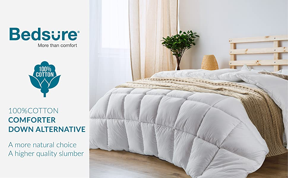 Get cozy with the 100% Cotton All-Season Quilted Down Alternative Comforter