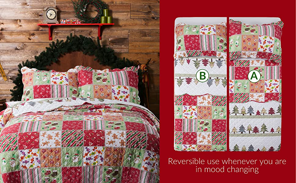 unique design of the Bedsure Christmas Quilt Set