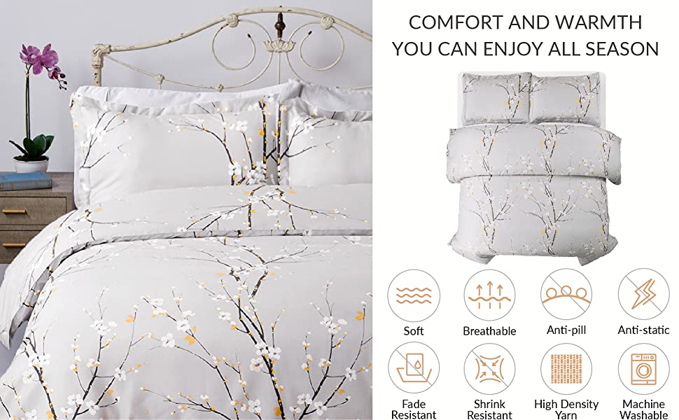 Printed Spring Bloom Pattern Duvet Cover Set