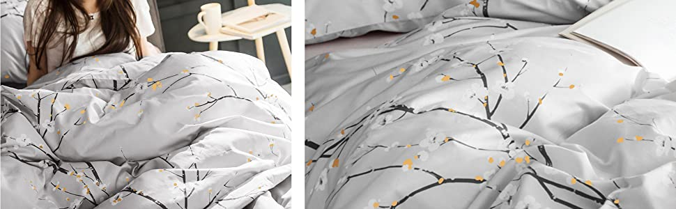BEDSURE Printed Floral Duvet Cover Set display