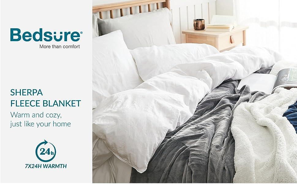 8caa7d2a88 Amazon.com  Bedsure Sherpa Bed Blanket Grey Queen size 90x90 Bedding ...