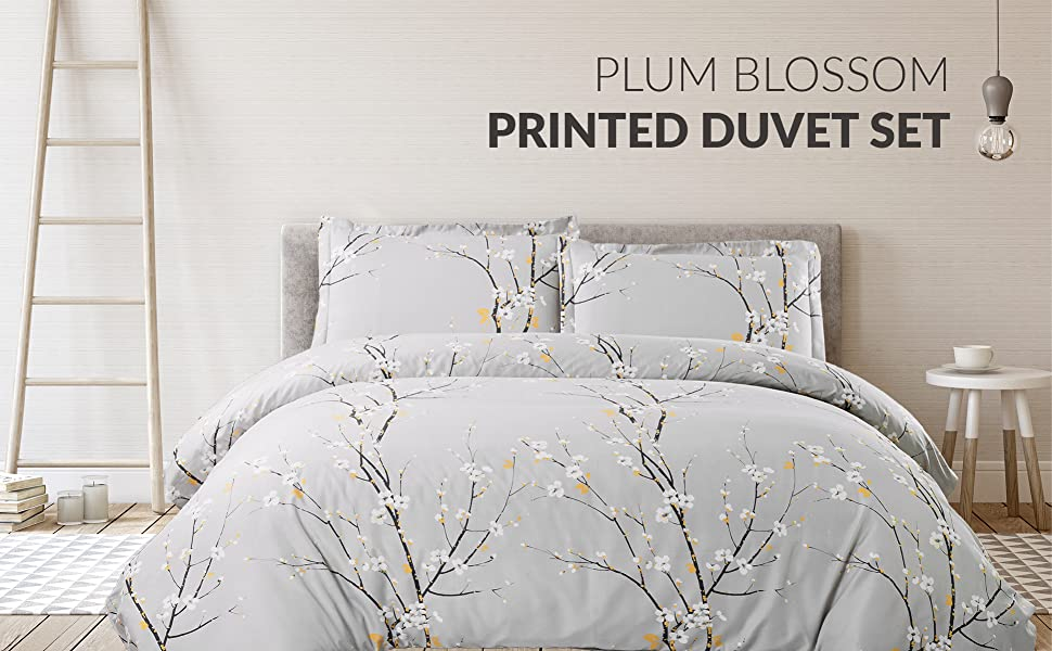 Printed Spring Bloom Pattern Duvet Cover Set front view