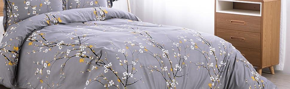 Bedsure Duvet Cover Set - Spring Bloom Grey display