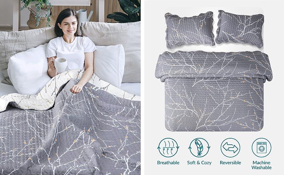 Bedsure Printed Quilt Set-Branch & Plum