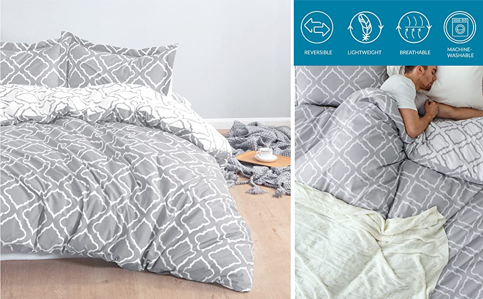 unique features of the Bedsure Bedding Printed Duvet Cover Set - Diamond Plaid Grey