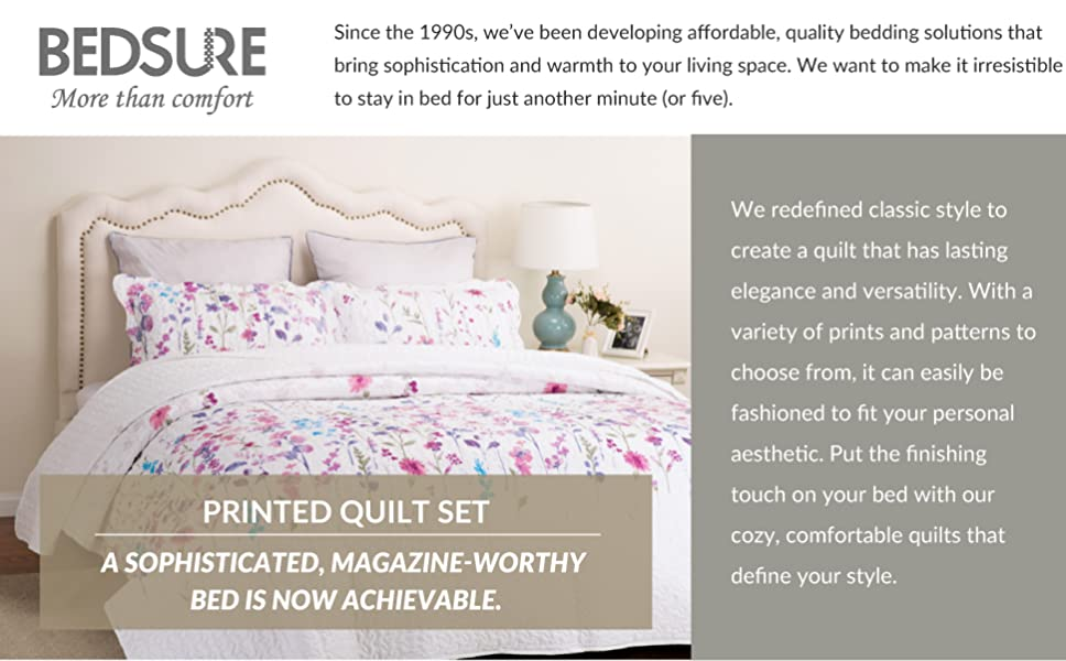 Printed Quilt Coverlet Set Full/Queen Lilac Floral Pattern