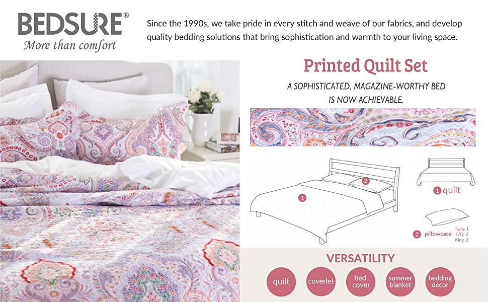 Printed Quilt Coverlet Set Full/Queen Crimson Blue Paisley Pattern Lightweight Hypoallergenic Microfiber