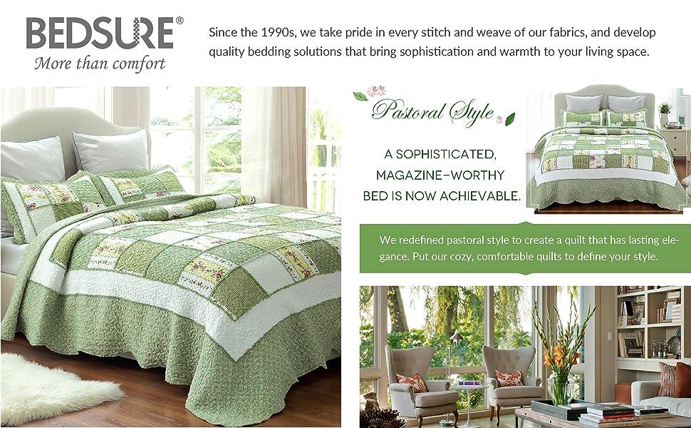 Printed Quilt Coverlet Set Bedspread Full/Queen Green Ruffle Lightweight Hypoallergenic Microfiber