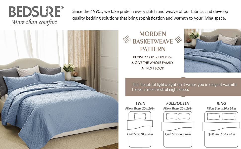 Amazon Quilt Set Solid Grayish Blue Fullqueen Size86x963
