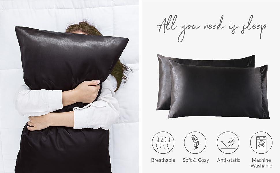 Bedsure | Solid Satin Pillowcase 2