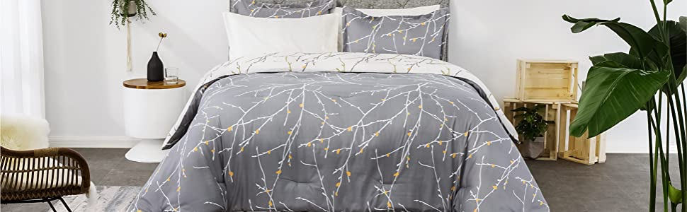 get cozy with the Bedsure Comforter Set - Tree Branch Floral