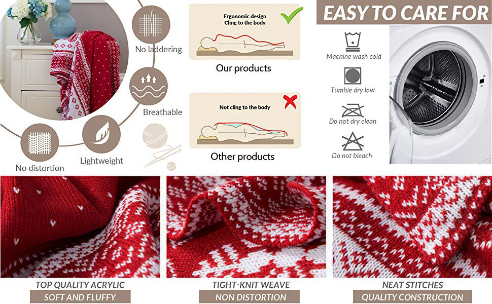 selling points of the Bedsure Christmas Decorative Throw Knitted Woven Blanket