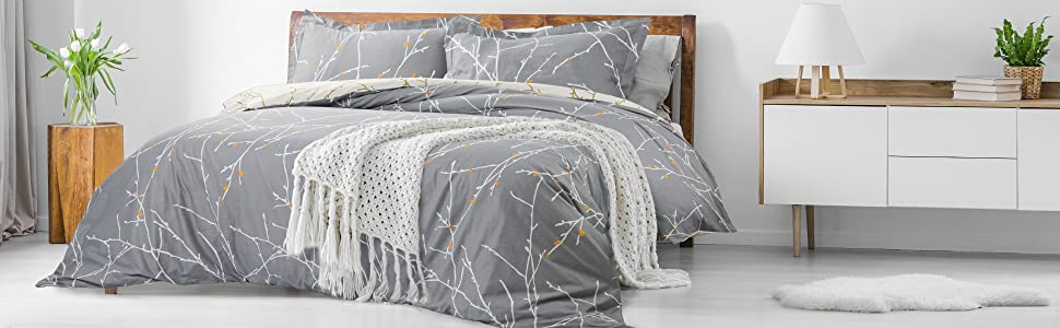 Bedsure Tree Branch 100% Cotton Duvet Cover Set