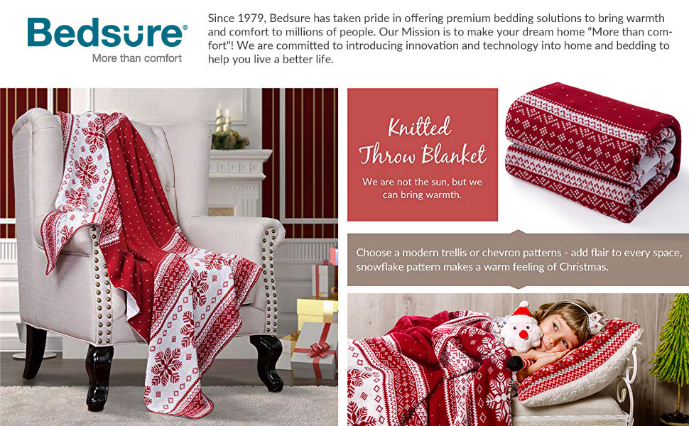 get cozy with Bedsure Christmas Decorative Throw Knitted Woven Blanket
