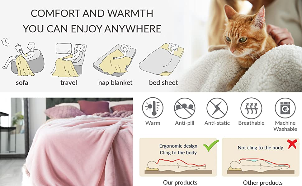 44e05bc855 BEDSURE Sherpa Fleece Blanket ensures you get warmth and comfort with this  magnificent luxury and fluffy softness to forget all your stress of the day.