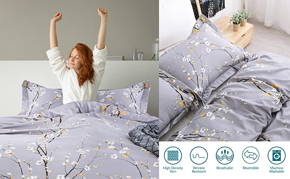 get cozy with the Bedsure Duvet Cover Set - Spring Bloom Grey
