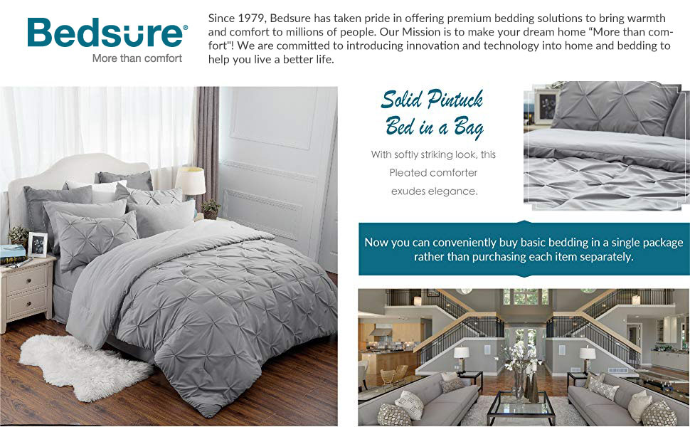get cozy with the Bedsure 6 Piece Pinch Pleat Down Alternative Comforter Set