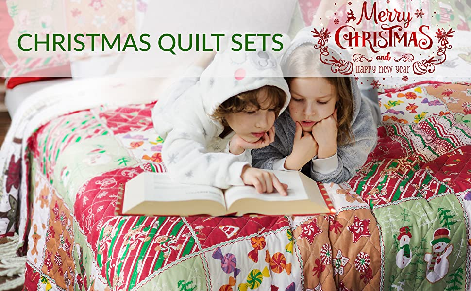 get cozy with the Bedsure Christmas Quilt Set