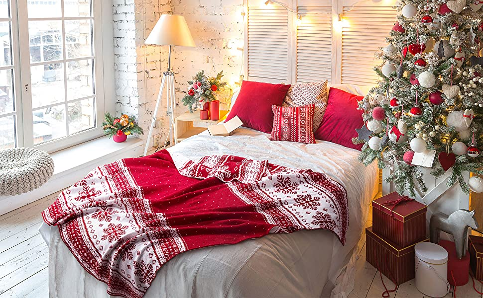 get cozy with the Bedsure Christmas Decorative Throw Knitted Woven Blanket