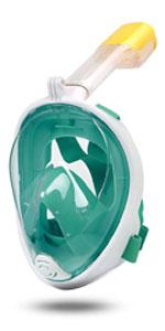 MountDog Tam Yüz Şnorkel Maskesi-Yeşil