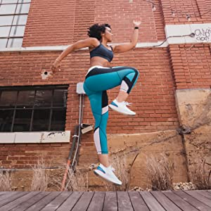 Jumping, Active, workout, girl, woman, on the go