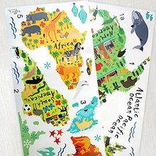 jungle animals world map wall decals two sheets giant big large