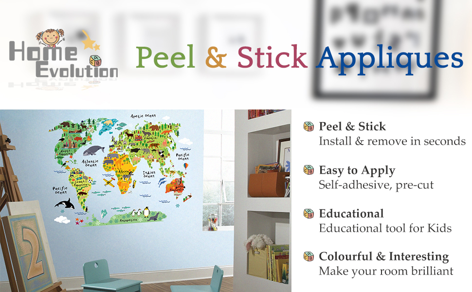 Transform Any Room In Minutes With Homeevolution World Map Peel Stick Wall Decal The Easiest Fastest Way To Decorate Any Kids Room Or Flat Surface