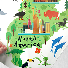 north america us map colorful with animals and statues of liberty