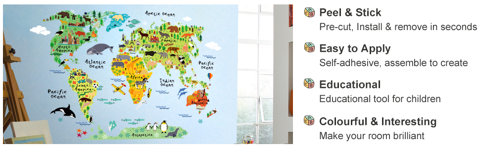 Jungle Animals World Map Wall Decals