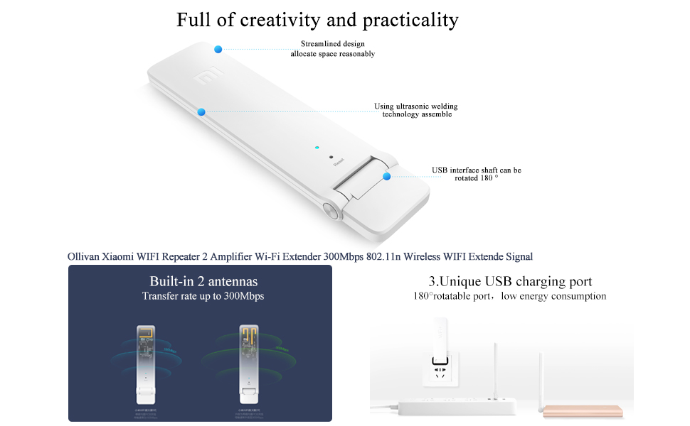 WiFi Range Extender, Xiaomi WiFi Repeater 2 WiFi Signal Booster Universal  WiFi Amplifier 300Mbps 802 11n Wireless USB WiFi Extenders Signal Booster