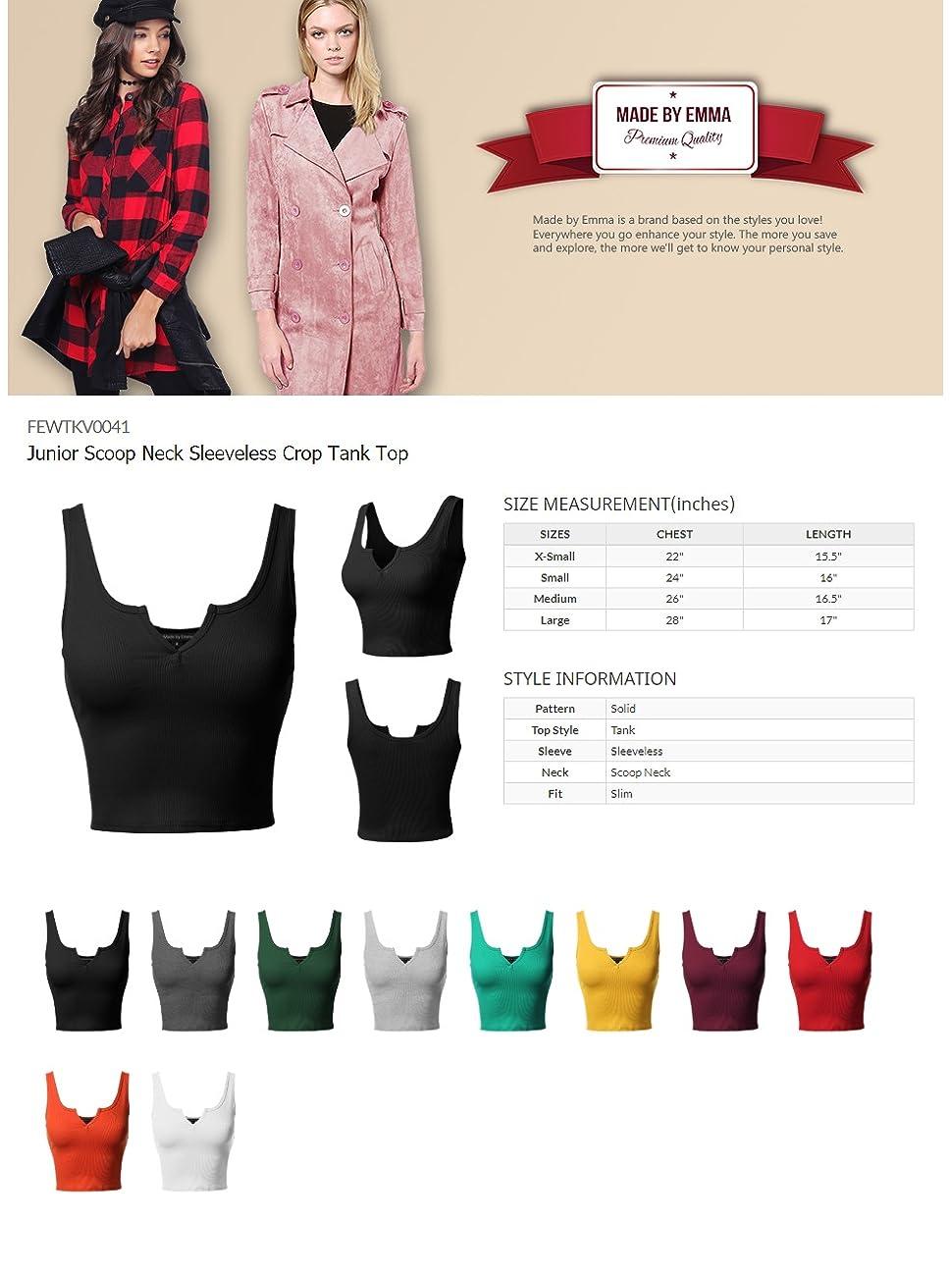 FashionOutfit Women/'s Junior Scoop Neck Sleeveless Crop Tank Top