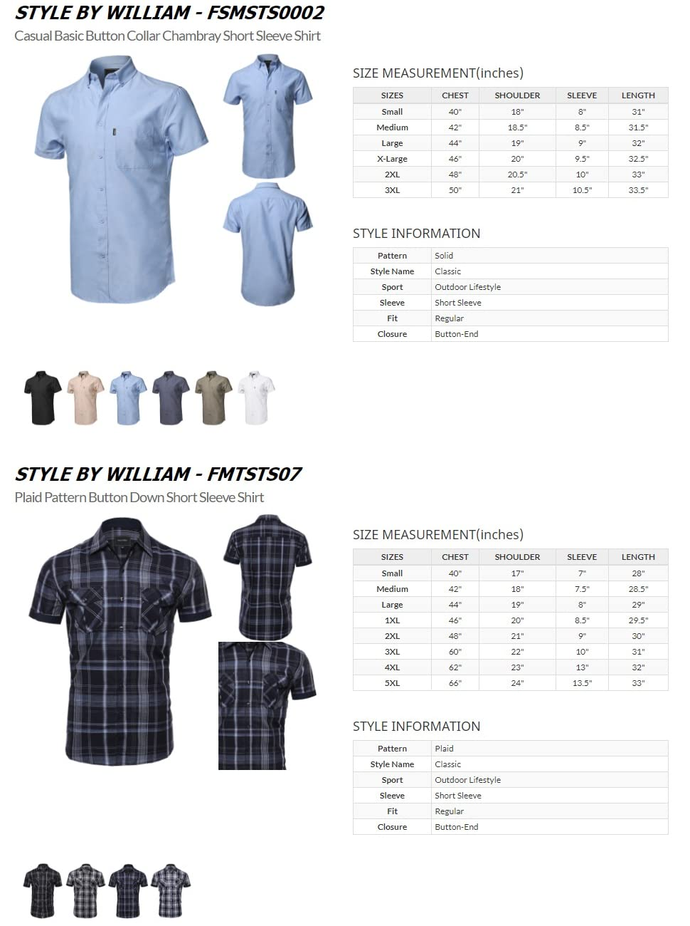 Style By William Button Down Short Sleeve Shirts