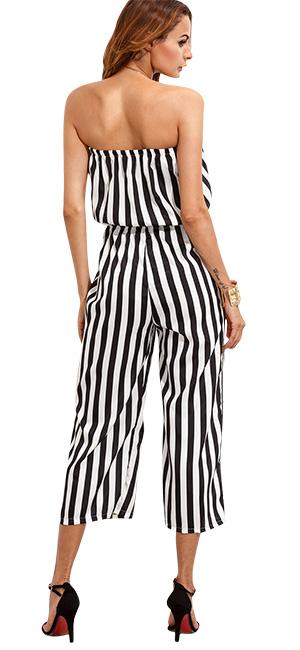 7433d356fe12 Amazon.com  Aro Lora Women s Strapless Stripe High Waist Cropped ...