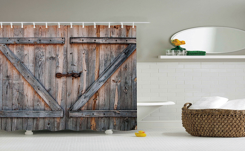Amazon.com: Rustic Country Barn Wood Door Bath Shower Curtain ...