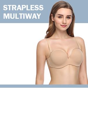 340490ae9b JOATEAY Women s Strapless Bra Full Figure Convertible Underwire Bra Plus  Size Lightly Padded