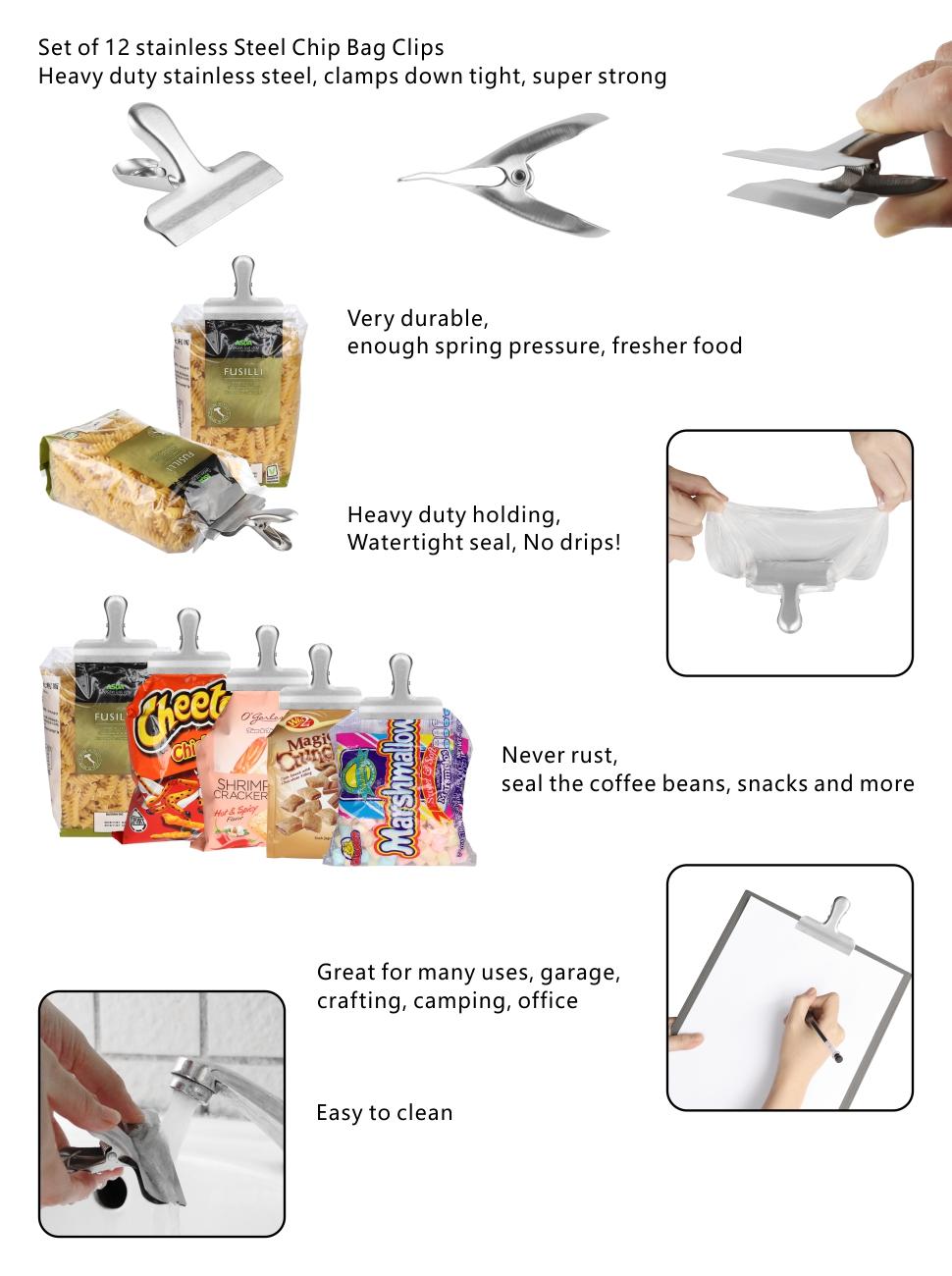 amazon com chip bag clips set of 12 leyosov 3 inches wide