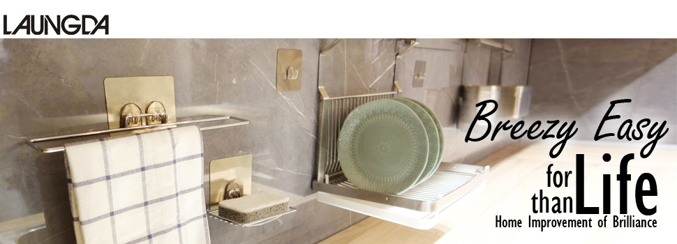 Soap Dish LAUNGDA Adhesive Soap Holder Chrome Bathroom Kitchen Tile Shower
