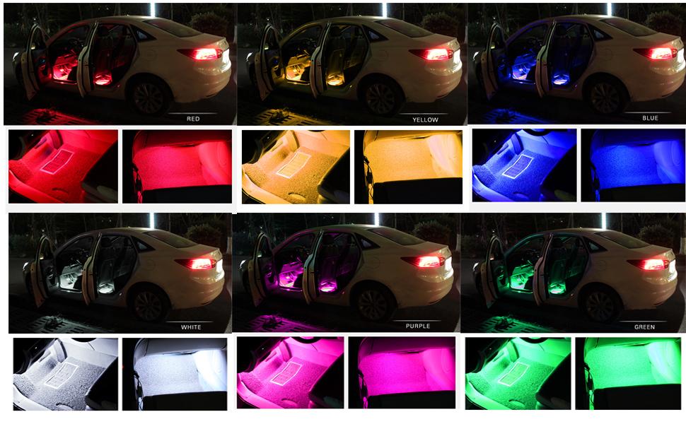 car interior lights ziste 4 pieces multi color led interior underdash lighting kit. Black Bedroom Furniture Sets. Home Design Ideas