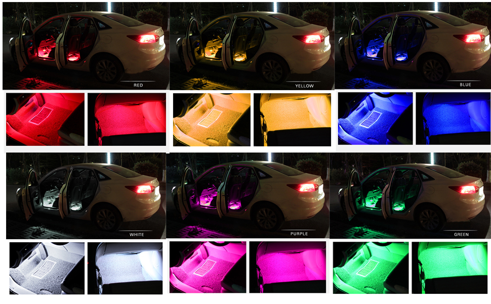 car led light strip ziste 4 pieces multi color led interior underdash lighting kit. Black Bedroom Furniture Sets. Home Design Ideas
