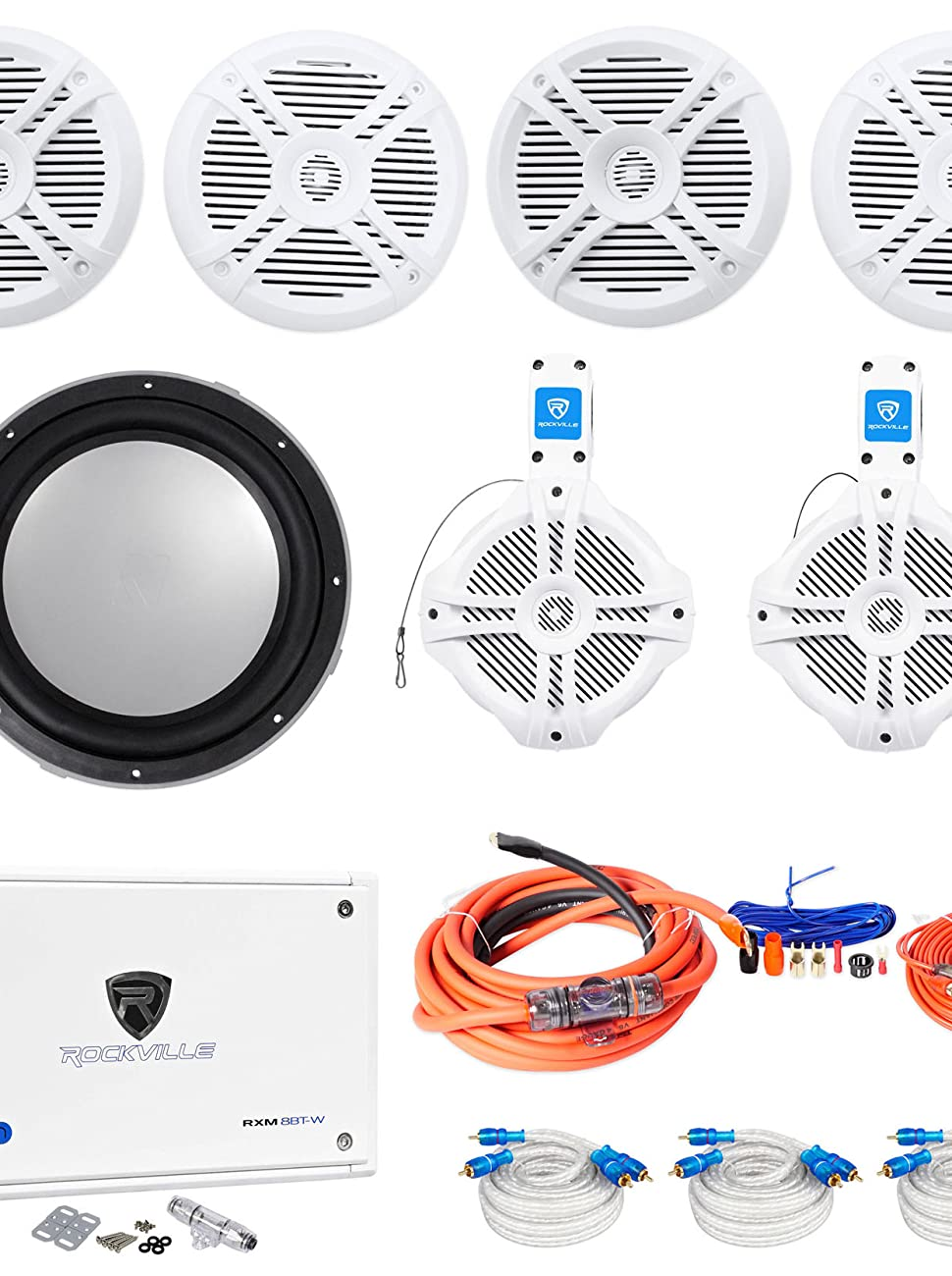 4 Rockville Rmsts65w 65 Marine Speakers Wakeboards Wiring Kit For Subs And Amp Kicker Sub Wire