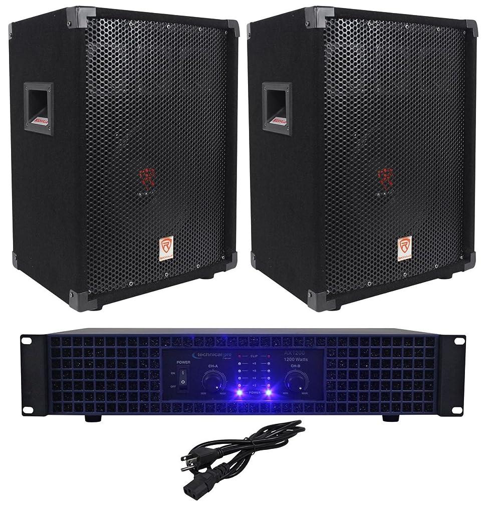 2 rockville rsg10 10 pa speakers technical pro ax1200 1200w power dj amplifier. Black Bedroom Furniture Sets. Home Design Ideas