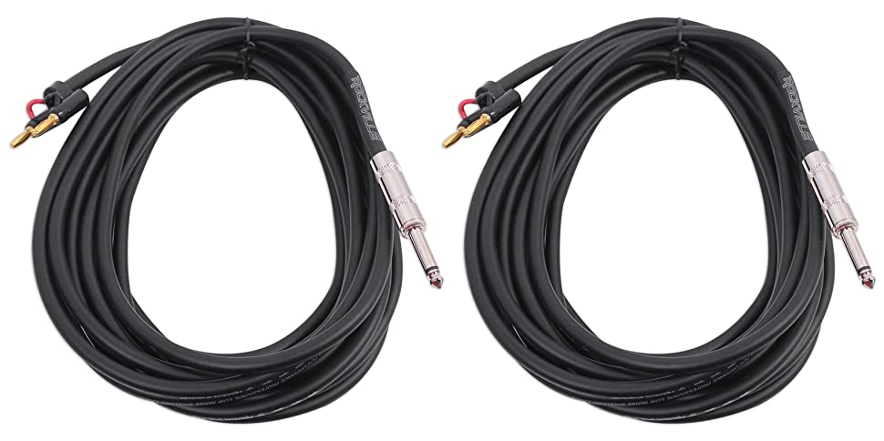 RCXBN15 100/% Copper! Rockville 15 Foot 1//4 to Banana Speaker Cable 16 Gauge