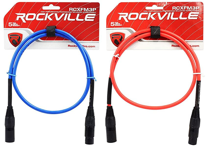 3 Colors 3 Rockville 3/' Female to Male REAN XLR Mic Cable 100/% Copper