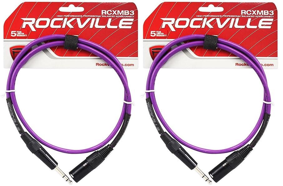 8 Rockville RCXMB3-P Purple 3/' Male REAN XLR to 1//4/'/' TRS Balanced Cables