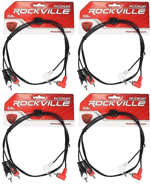 2 Rockville RCDR3R 3/' Dual Mono Right Angle RCA to Straight RCA Cable 100/%Copper