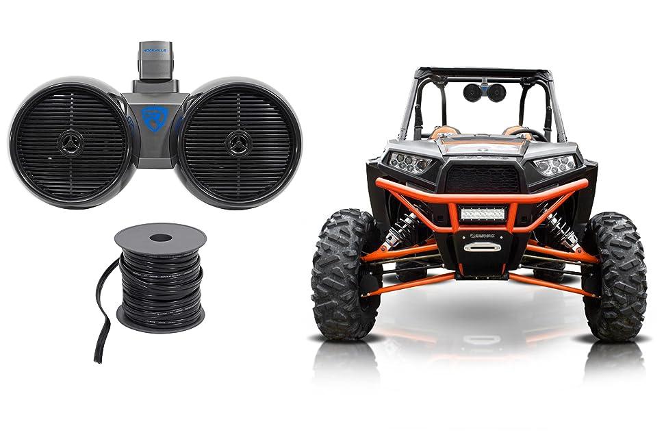 "2 Rockville DWB80B Dual 8/"" 800w Tower Speakers for Polaris RZR//Jeep//ATV//UTV//Cart"