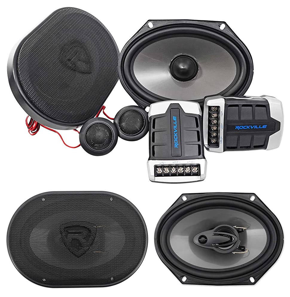 "Pair Rockville RV68.2C 6x8 / 5x7"" Component Speakers+6x8"" Coaxial 3-Way  Speakers"