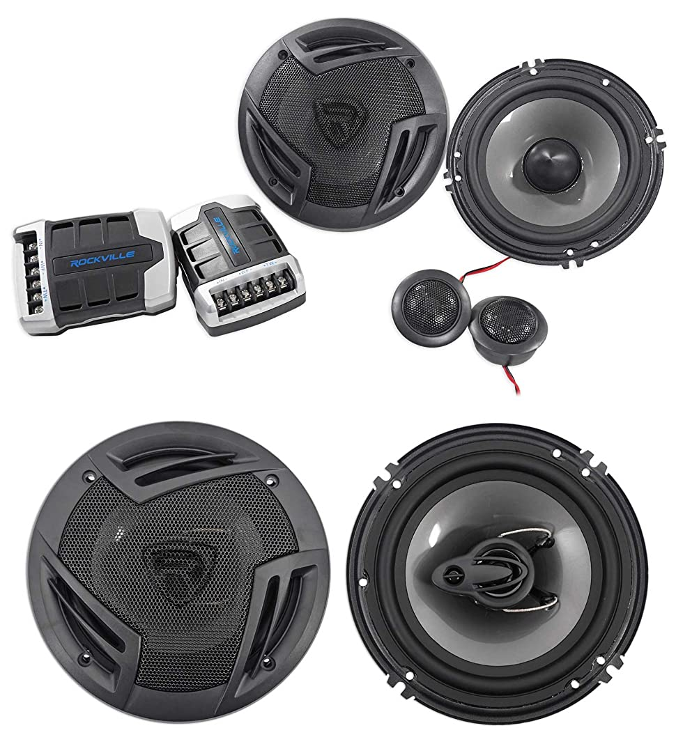 "Pair Rockville RV65.2C 6.5"" Component Car Speakers+6.5"" Coaxial 3-Way  Speakers"