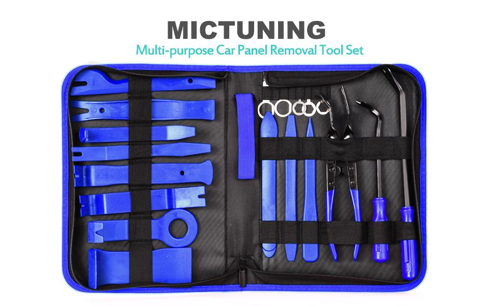 SUNSHINETEK Car Trim Removal Tool Kit Auto Interior Trim Disassemble Tools Plastic Dashboard Removal Tool Set Blue